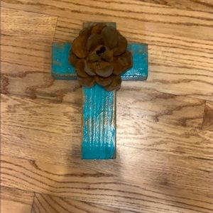 Gorgeous wooden copper cross. One of a kind.